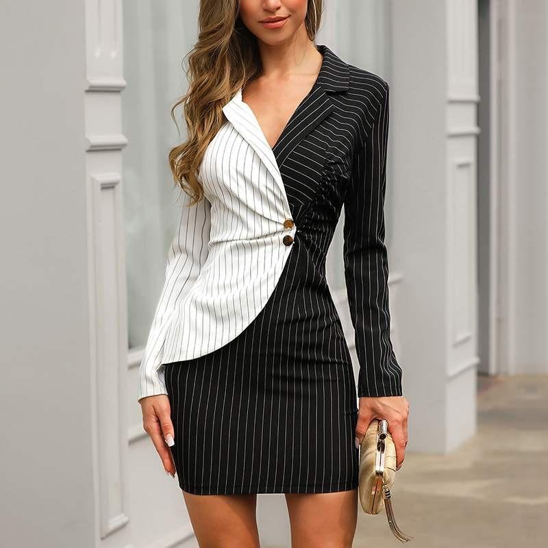 Blazer Dress Suits Women White Black Striped Design Slim Jacket Long Sleeve Office Ladies Wear Work Elegant Party Frocks 2019
