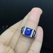 Мужское кольцо из серебра 925 пробы с ярко синим топазом, простое кольцо по индивидуальному заказу