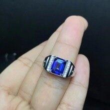Royal Blau Topas männer der RING 925 silber angepasst ring größe neue empfohlen einfache ring
