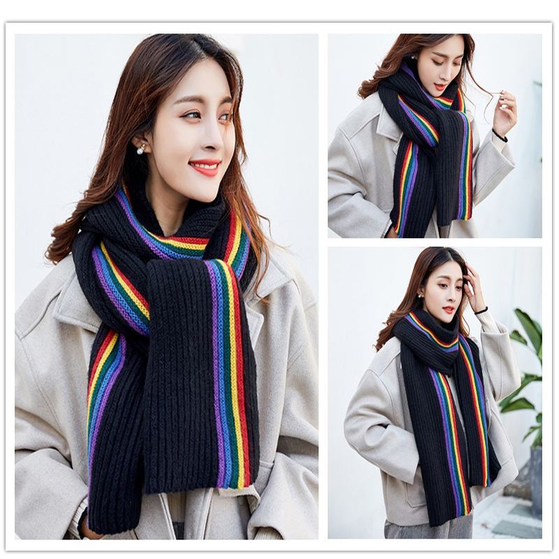 Fashion popular autumn winter style warm men and women scarf Unisex rainbow stripe Pashmina Wool knitting Candy colors scarf