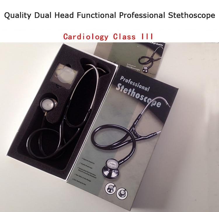 Brand New Double Dual Head Functional Littmann Professional Stethoscope Cardiology Estetoscopio Quality Medical  Free Shipping