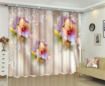 Modern Fashion Purple flowers 3D Blackout Window Curtain For Bed room Living room Hotel Window Drapes Cortinas Para Sala