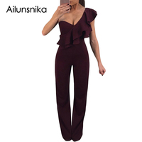 Ailunsnika New 2018 Ruffle One Shoulder Party Jumpsuit Elegant Long Burgundy Overalls For Women Solid Sexy