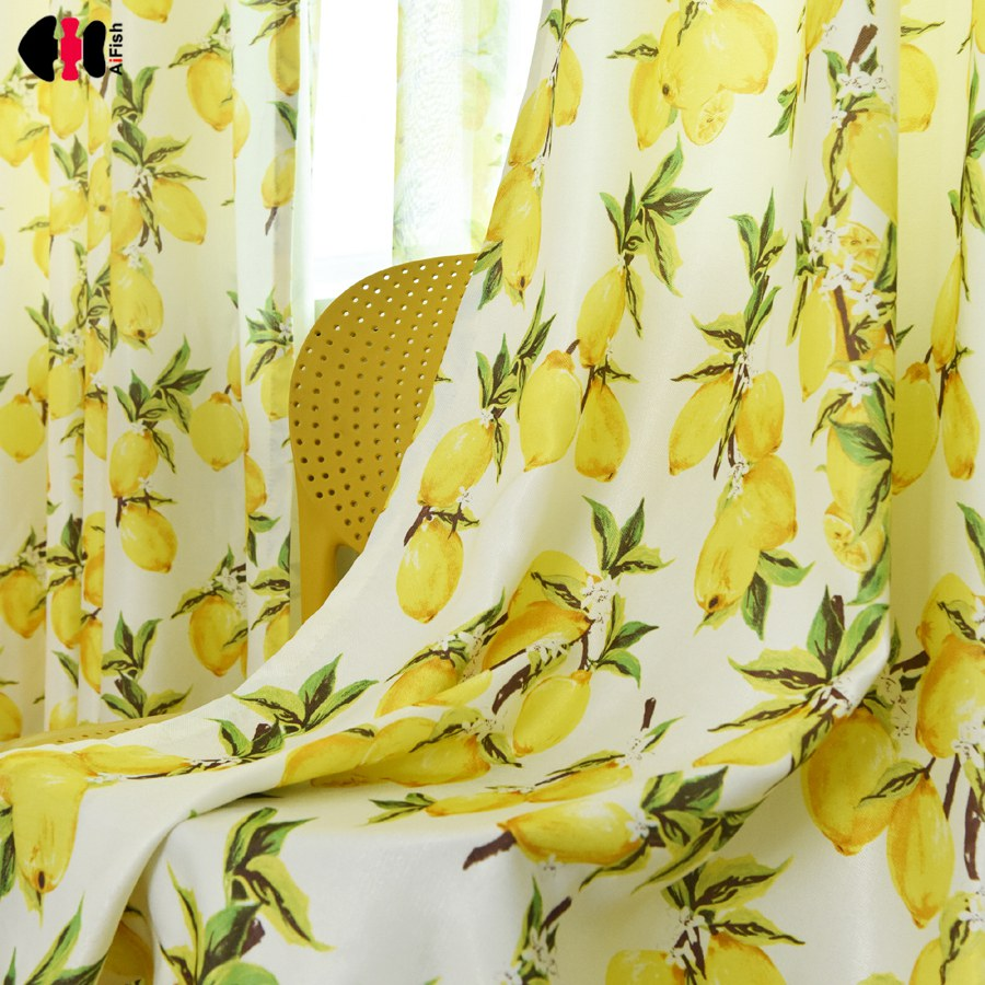 Cartoon Trees Curtains For Kids Boys Bedroom Blinds Linen: Fruit Lemon Design Curtains For Living Room Simple