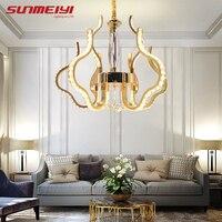 Modern Gold LED Crystal Chandelier Suspension lustres para sala de jantar Living room Bedroom Chandelier Lighting kroonluchter
