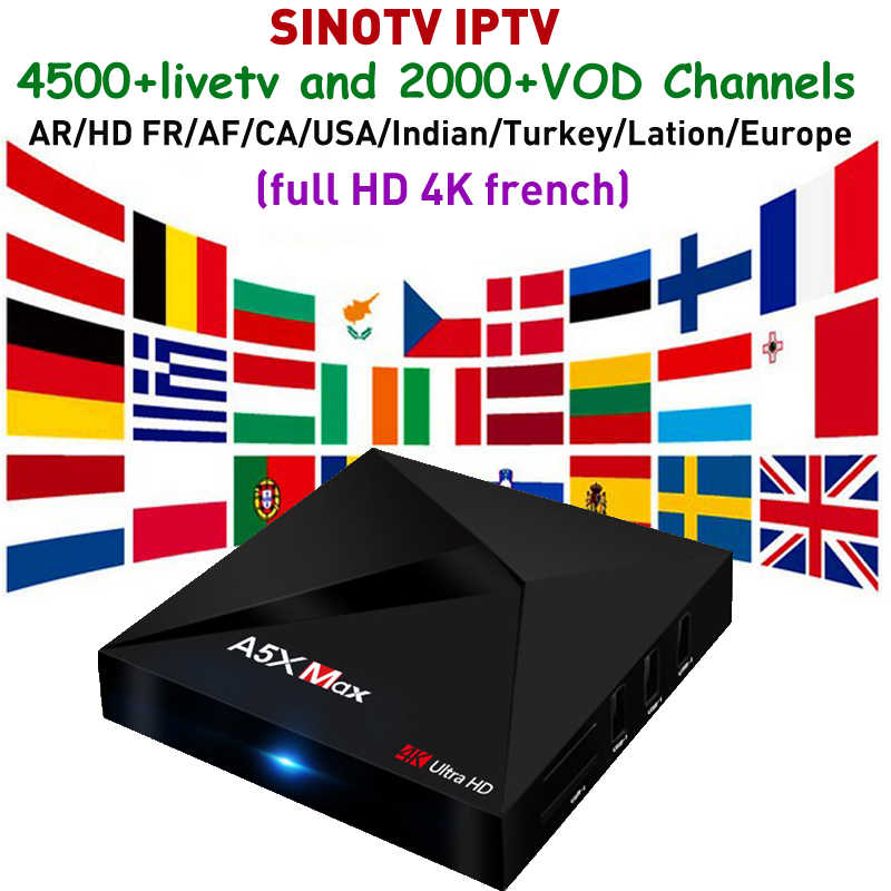Hindi IPTV TV Box Android 9.0 A5X MAX 4GB RAM RK3328 avec Support SINOTV IRAN arabe HD 4K France européen canadien turc TV