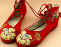 Chinese flower embroidery mid-cut cloth shoes lace-up flats folk style round toe shoes shallow mouth classic casual shoe