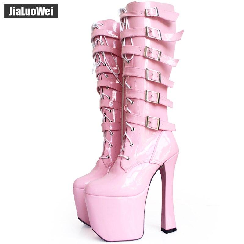 Ayakk.'ten Diz Hizası Çizmeler'de Jialuowei Lace Up Toka Yüksek Topuk Platformu Siyah patent botları moda Dans botları yüksek kaliteli Yüksek diz seksi kadın bayan botları'da  Grup 1