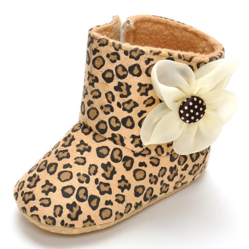 Baby shoe footwear Girls boys Kids casual Leopard flower indoor Anti-Slip Crib Soft Sole Prewalkers Footwear Crib for 1-2years