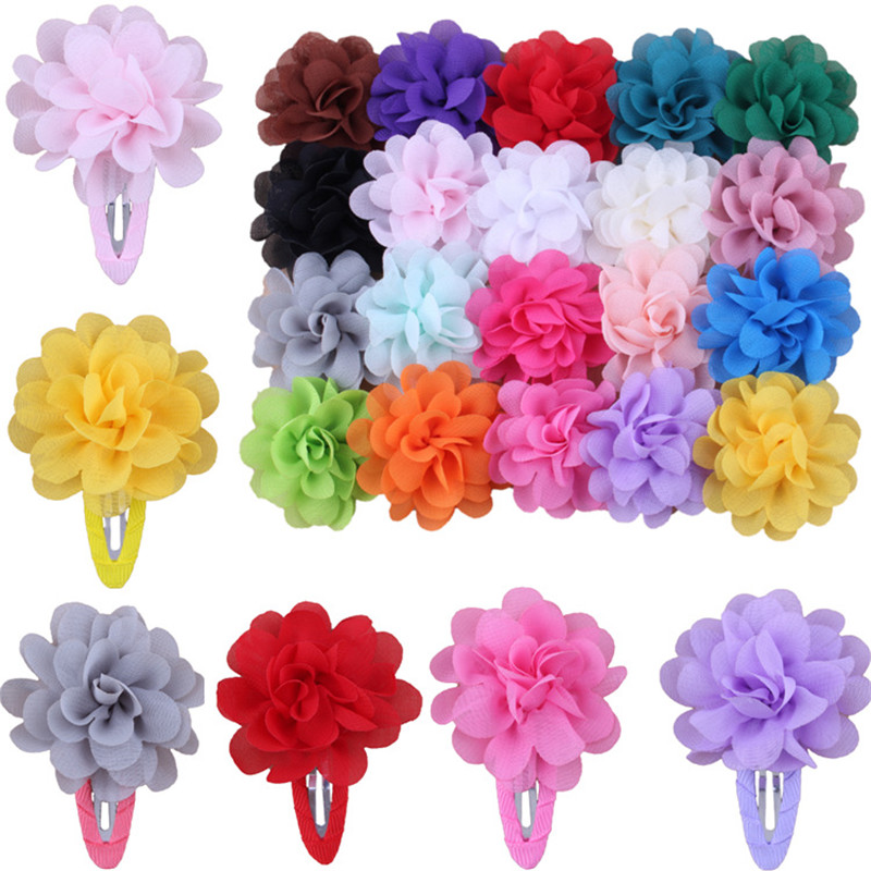 Sale 2 PCS Fashion Cute Flower Pumpkin Kids Hairpins Girls BB Hair Clip Hair Accessories Chiffon Ribbon Child   Headwear   Gift