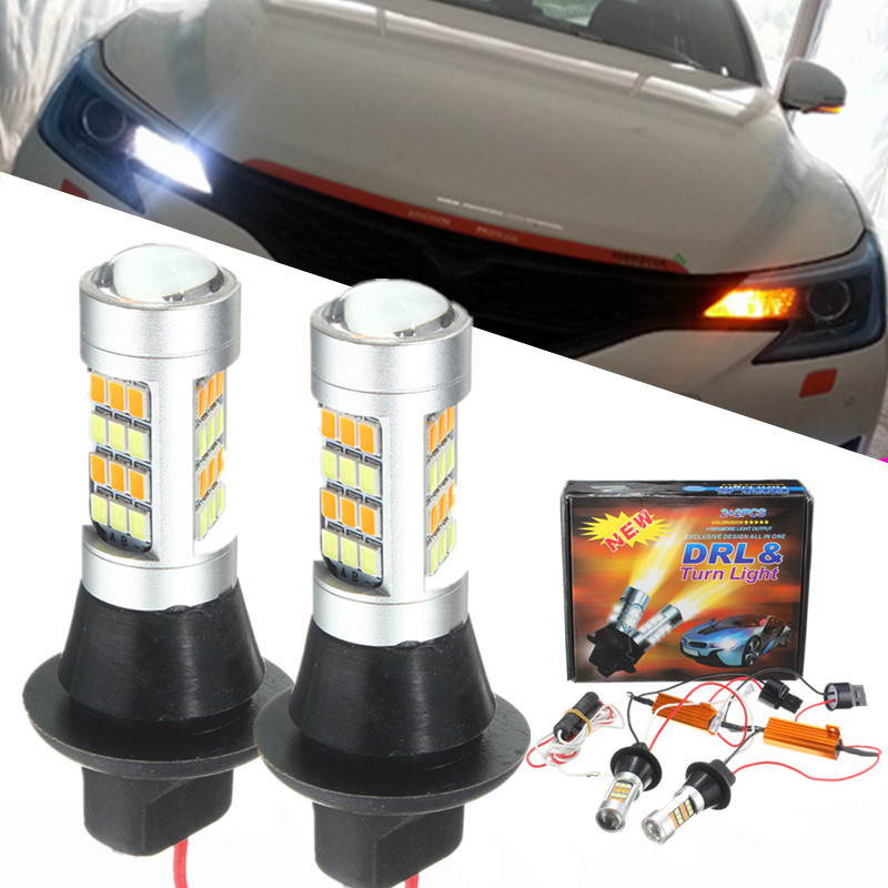 2x High Power 1000LM 7440 2835 20W Canbus Error Free Car Auto Front Side DRL Daytime Running Lights Lamps Bulbs