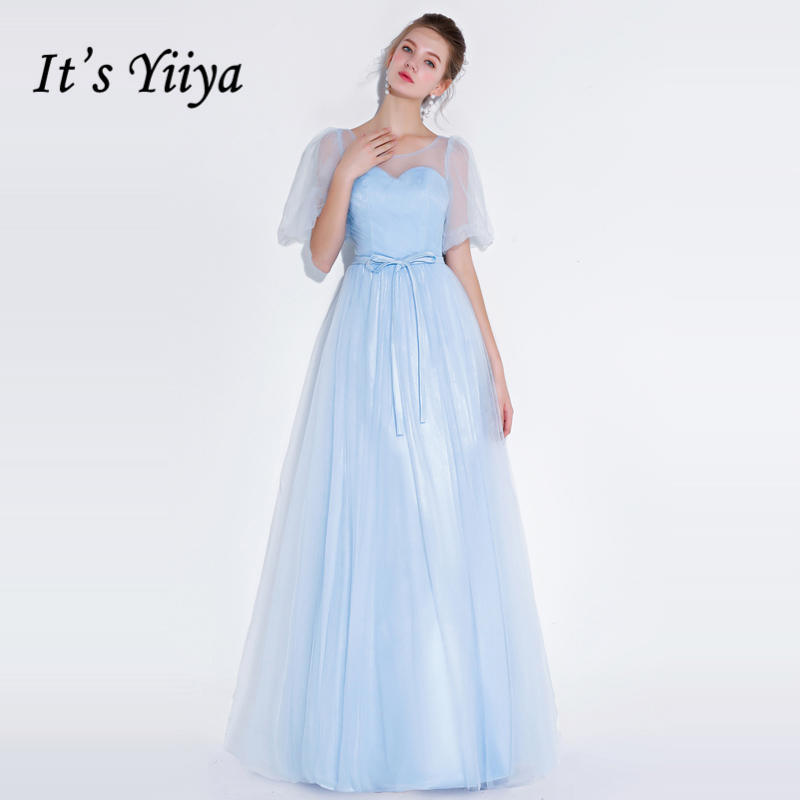 It's YiiYa   Bridesmaids     Dresses   2018 Light Blue O-neck A-line Simple Mesh Back Lace Up Formal   Dress   LX1301 robe de soire