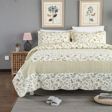 CHAUSUB Patchwork Bedspread Quilt Set 3PCS Floral Printed Cotton Quilts Quilted Coverlet Bed Cover Shams King Queen Size Bedding