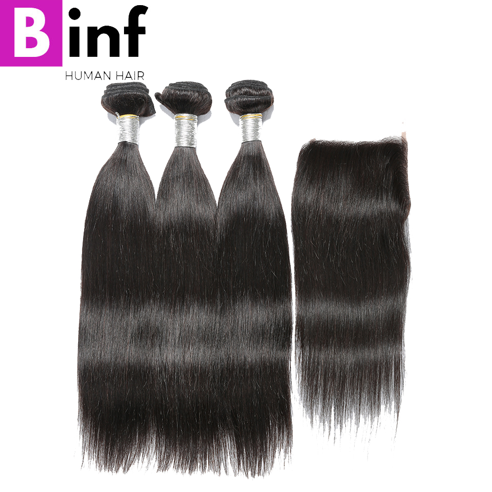 BINF Hair Peruvian Straight 100% Human Hair Extension Natural Color 3 Bundles with Closure Straight Hair Free Shipping Remy Hair