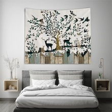 Wall Hanging Tapestries Home-Decoration Animal Concise-Style Tree Landscape Deer Tapzi