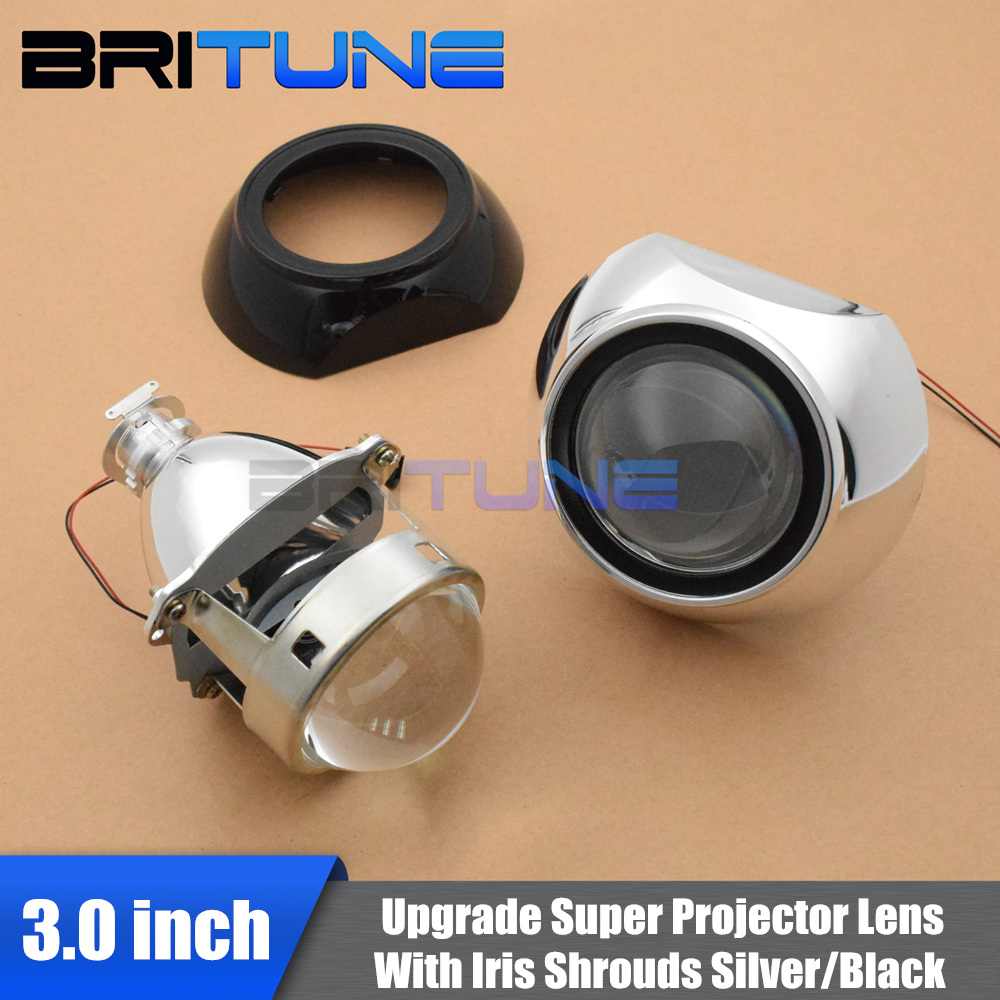 Iris Silver Black Shrouds With Super 3 0 Full Metal H1 Bi xenon Projector Lens For