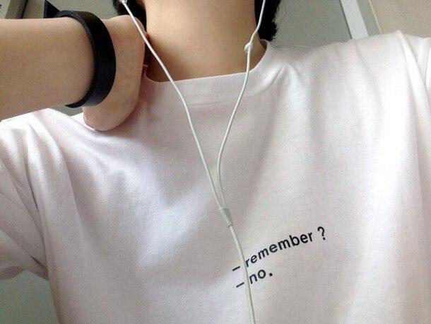 REMEMBER ?NO .Unisex fashion T shirt girls tumblr top tees high quality t shirt women casual tshirt summer funny t shirt Футболка