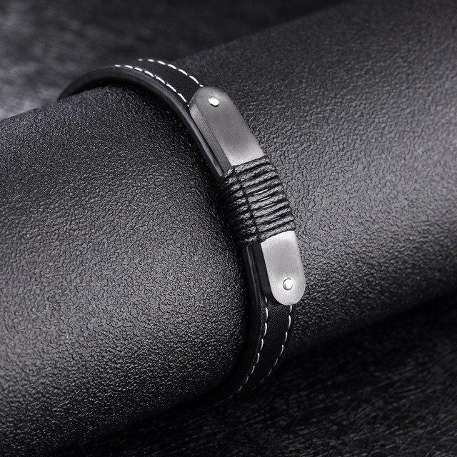 Модные черные кожаные мужские браслеты Индивидуальные ювелирные