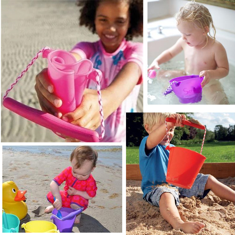 Classic Toy Kids Shower Bath Toys Hand-held Barrel Toys for Children Silicone Beach Bucket Folding Baby Play Water Sand Tool