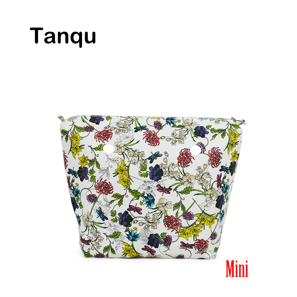 TANQU New Mini Floral Print PU Leather Lining Waterproof Insert Zipper Inner Pocket for Mini Obag EVA O BAG Women Handbag tanqu new mini floral print pu leather lining waterproof insert zipper inner pocket for mini obag eva o bag women handbag