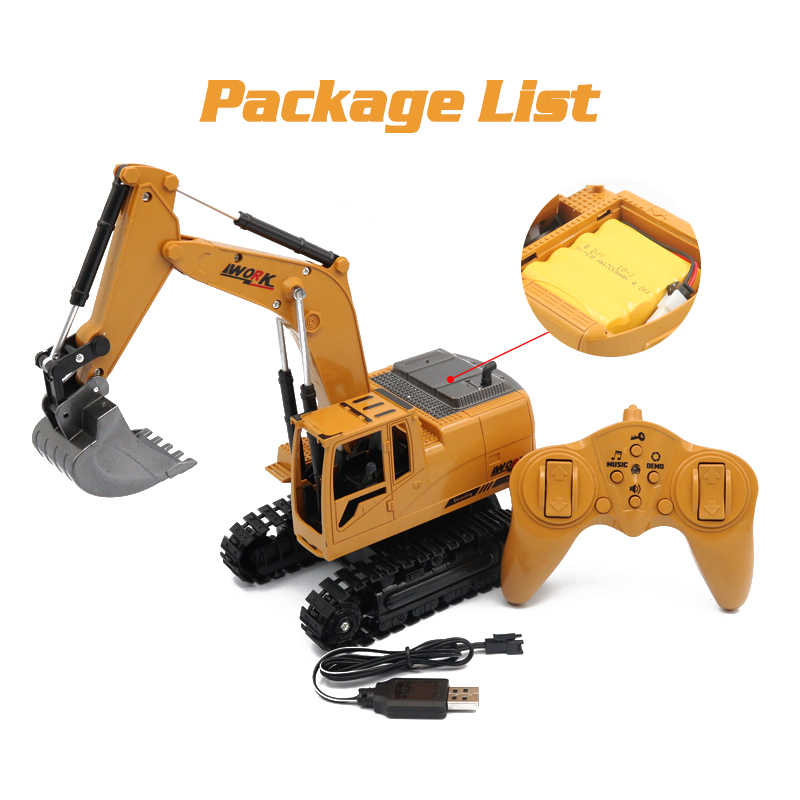 Игрушка для мальчиков экскаватор rc 1:24 музыкальные игрушки инженерный автомобиль трактор 2.4Gz пульт дистанционного управления VS huina игрушки