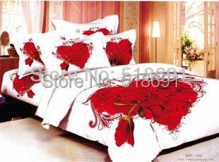 big Rose printed bedding set 3d 100% Cotton Duvet cover King Queen Quilt cover sets Luxury red color bedsheet set wedding