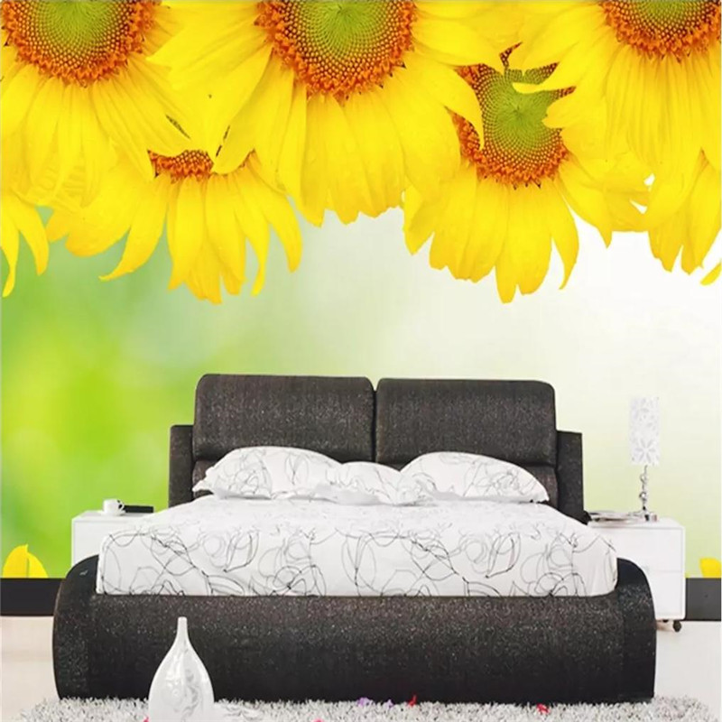 Custom wallpaper sunflower large mural hotel club home TV background wall painting advanced waterproof material