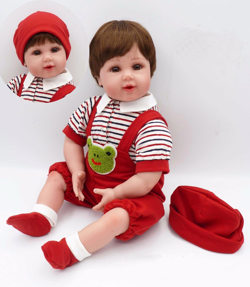 Pursue 20/51 cm Red Clothes Red Hat Silicone Reborn Babies Toddler Fake Baby Doll Reborn Boy Doll Toys for Sale Interactive Toy pursue 22 56 cm big smile face reborn boy toddler baby doll cotton body vinyl silicone baby boy doll for children birthday gift