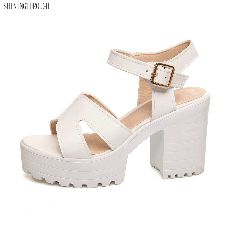 Fashion Women Platform Sandals Heels Thick High Heeled Summer Shoes Party Open Toe Female sandals large size 9 10 11 12 2018new arrival ladies party shoes women sandals summer open toe fashion platform high heels brand designer sandals female shoes