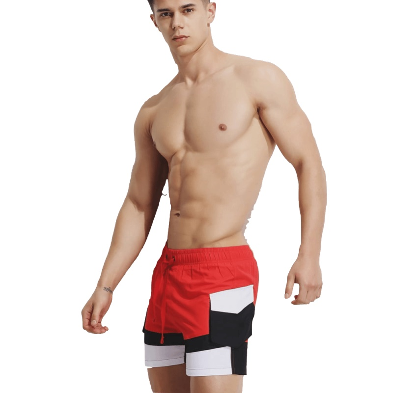 2019 Beach Surf   Board     Shorts   Striped Swimsuit Men Swimwear Swim Bathing Suit Drawstring Quick Dry Sportswear Sport Pant Trunks