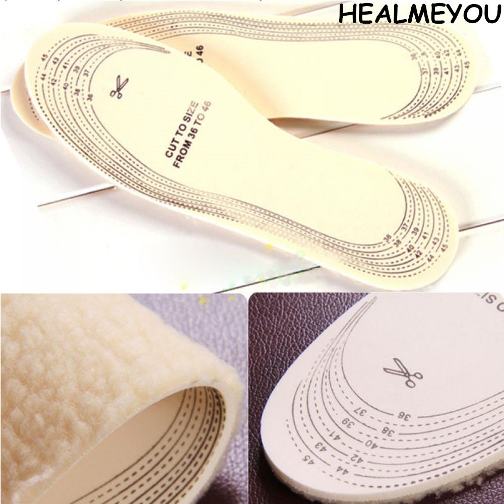 HEALMEYOU 1 pair Unisex Men Wemen Winter Warm Soft Wool Winter Shoe Insole Pad Size 36-46