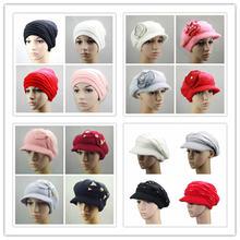 Новая женская теплая Зимняя шерстяная шапка с бантиком и кроличьим