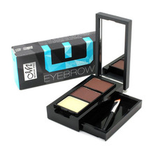 Eye Shadow Eye Brow Makeup 2 Color Waterproof Eyebrow Powder + Eyebrow Wax Palette + Brush +Mirror Make Up Set Kit E15001#
