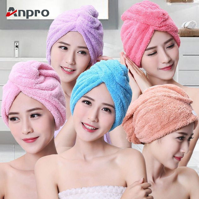 Anpro Coral Velvet Dry Hair Bath Towel Microfiber Quick Drying Turban Super Absorbent Women Hair Cap Wrap with Button thicken