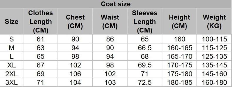 coat size