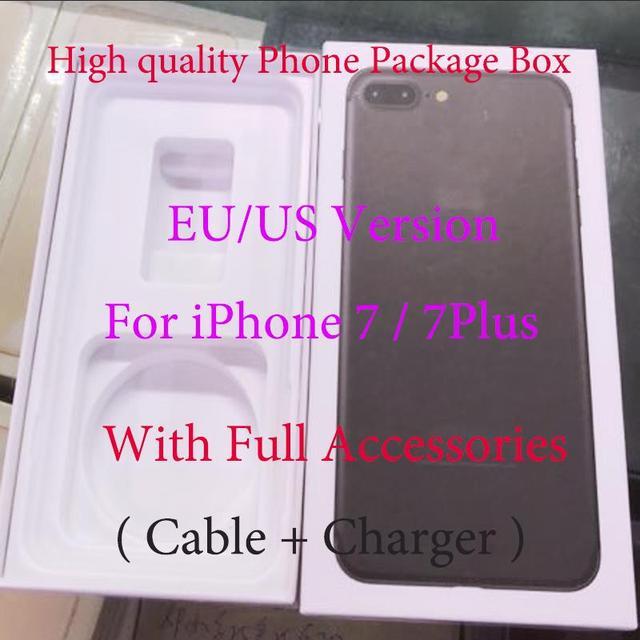 10 sztuk/partia wysokiej jakości US/wersja ue telefon komórkowy opakowania pudło do pakowania etui do iPhone 7/7plus z pełnym pakiet akcesoriów pudełko