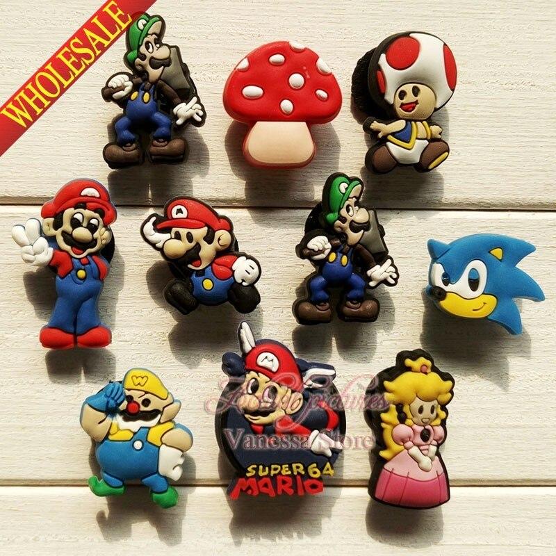 High Quality 10pcs Super Mario Bros PVC Shoe Charms Shoes