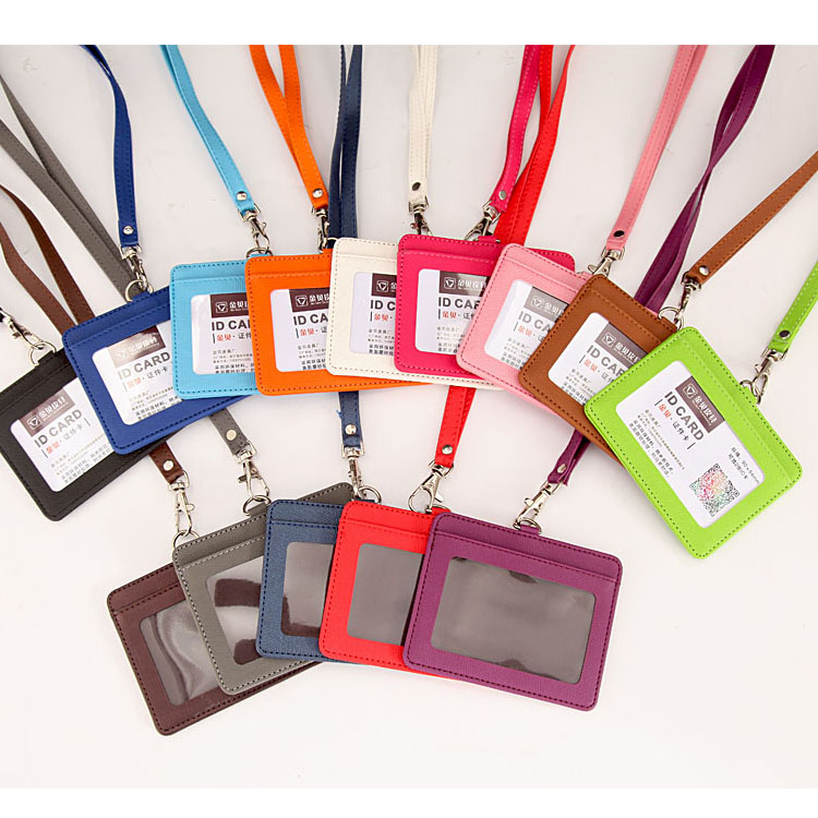 Candy Colors Horizontal PU Leather Hold 2 ID Badge Case with Lanyard Color Border Bank Credit Card Holders ID Badge Holders цена 2017