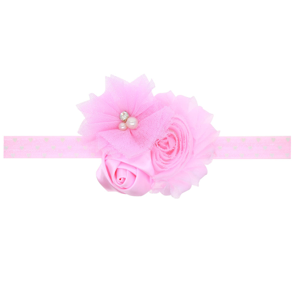 Online get cheap pink hair flower aliexpress alibaba group 1 pieces new baby girl ruffles pink flower hair flower band kids headband girls hair accessories dhlflorist Choice Image
