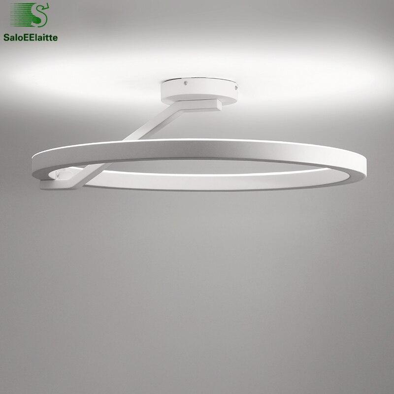 Rond En Métal Télécommande Dimmable Led Plafond Lampe Chambre Lustre Luminaires Minimalisme Plafonnier Éclairage Intérieur Lamparas