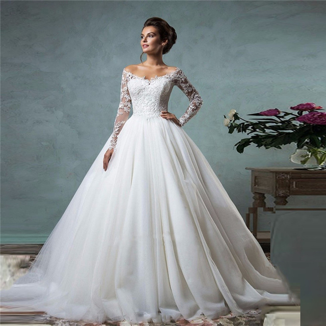 Lace Off The Shoulder Ball Gown Wedding Dresses Long Sleeves