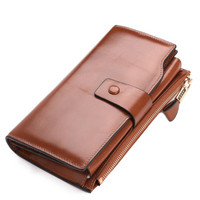 Big Capacity Oil Wax Leather Wallet Women Phone Wallets Zipper Design With Coin Purse Pockets Ladies