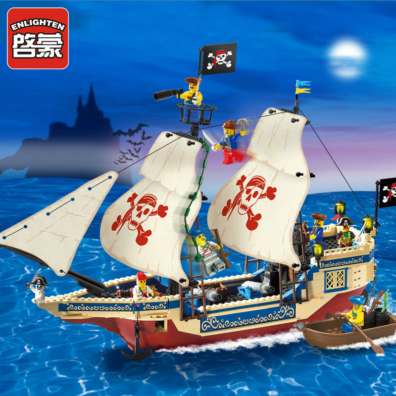 Enlighten 487PCS Pirate Series Pirate Ship Weapons Boat Building Blocks Bricks Voor Kinderen compatiable with lego gift Sets 590pcs enlighten pirate series toys pirate ship weapons assembling building block bricks set compatible with lepin friends