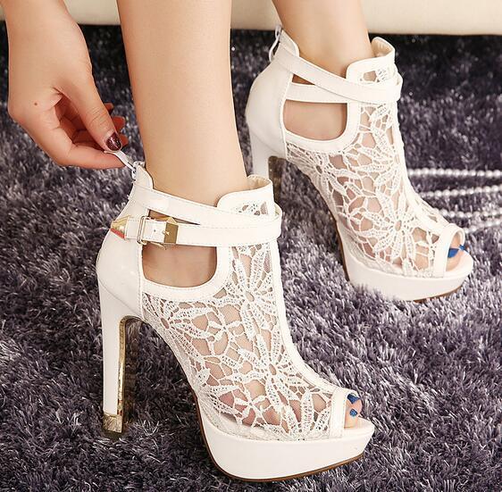 Sandálias gladiador estilo europeu senhoras sexy verão bombas wedding party shoes sandália peep toe bombas das mulheres dos saltos altos