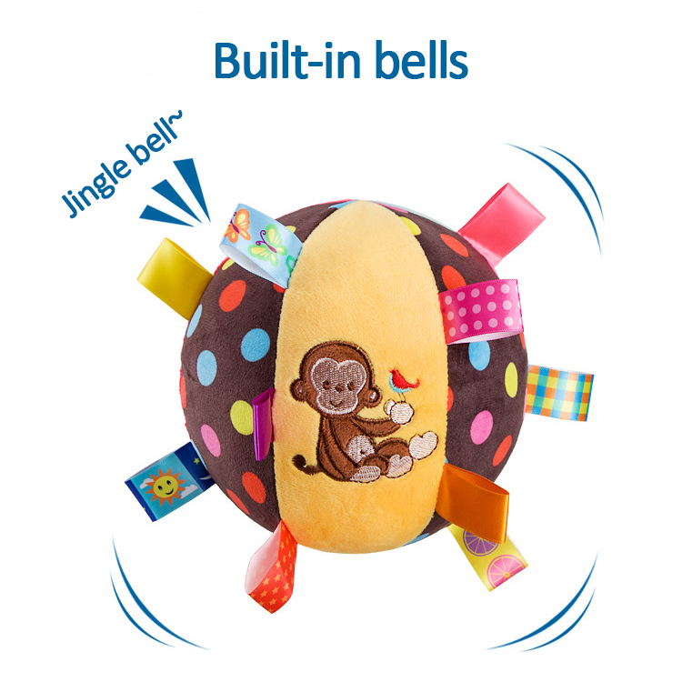 MamimamiHome Baby Infant Cotton Hand Grasp Rattle Ball Plush Bells Pacify Ball Music Sense Learning Toy Bed Hanging Baby Rattle
