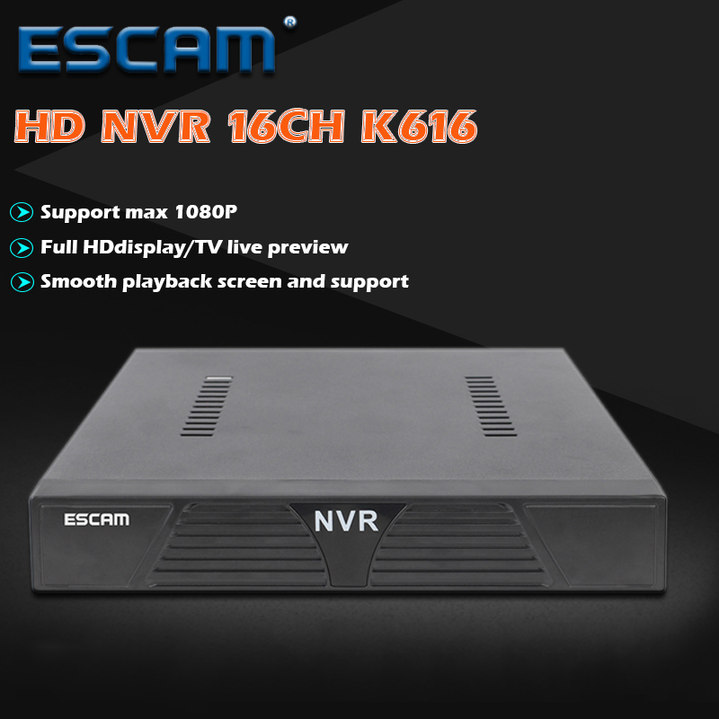 ESCAM K616 NVR HD 1080P 16CH Network Video Recorder H.264 HDMI/VGA Video Output Support Onvif P2P Cloud Service support onvif 9ch 1 5u nvr 1080p hd with vga
