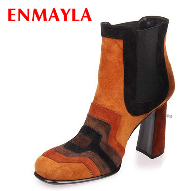 Women's Chunky Heels Ankle-high Chelsea Boots Spring Fall Shoes