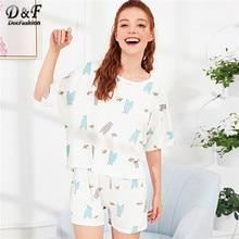 5f2e9654a2 Dotfashion Oso de dibujos animados de impresión Conjunto de pijama lindo  para 2019 mujeres verano Casual Pijamas media manga Pij.