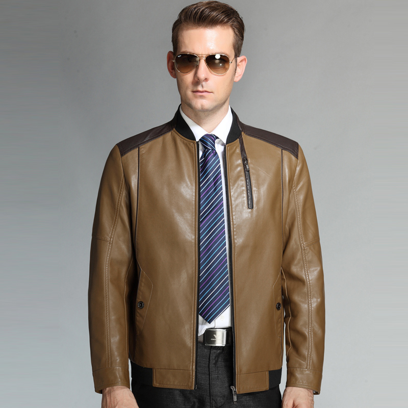 01dc0f69110 2015 Spring Autumn New Business Casual Men s Leather Jackets And Coats  Genuine Leather Jacket Men Skull Motorcycle Jackets-in Faux Leather Coats  from Men s ...