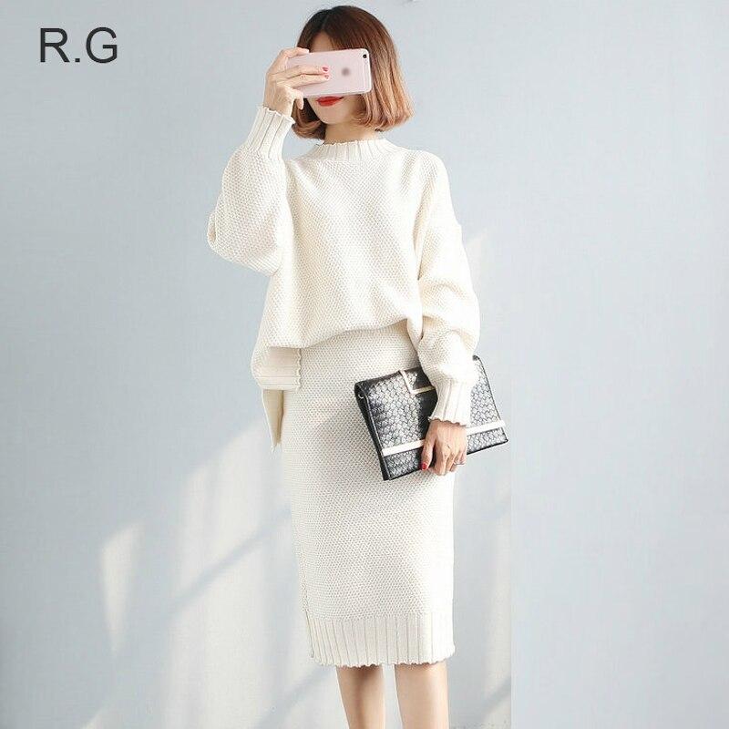 Rg Women 2 Pieces Sweater Dress Set Knitting Long Sleeve